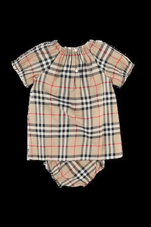 גילאי 1-18 חודשים מארז שמלה ותחתונים בהדפס משבצות אייקוני BURBERRY