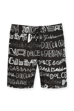 Mid Length Doodle Boxer Boardshorts in Black and White DOLCE & GABBANA