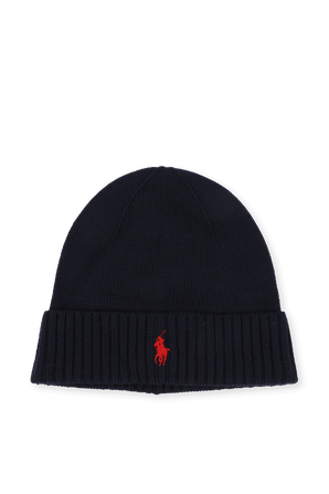 Merino Wool Logo Hat in Navy POLO RALPH LAUREN