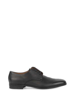 Derby Shoes in Embossed Black Leather BOSS