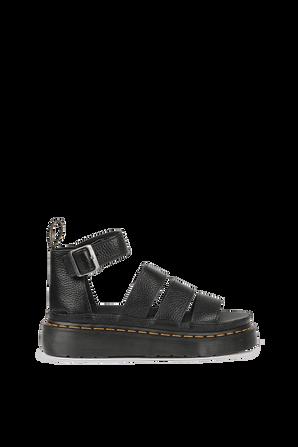 Clarissa Leather Platform Sandals in Black DR.MARTENS