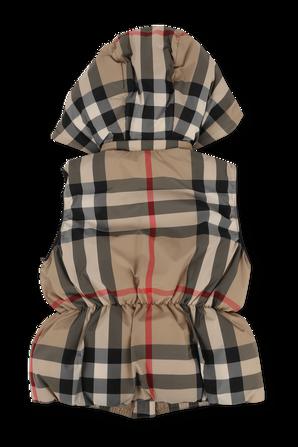 גילאי 3-10 מעיל וסט עם הדפס משבצות בגווני חום ושחור BURBERRY