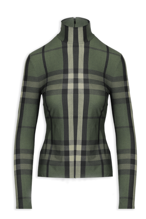Chcked Neck Jumper in Green BURBERRY