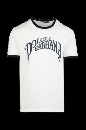 T-Shirt With Logo Print in White DOLCE & GABBANA