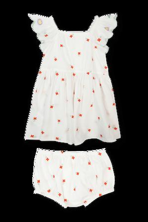 גילאי 3-36 חודשים שמלה לבנה פרחים רקומים STELLA McCARTNEY KIDS