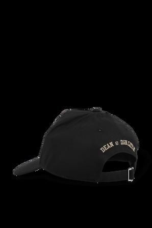 כובע מצחייה שחור עם פאץ' אורבני DSQUARED2 KIDS
