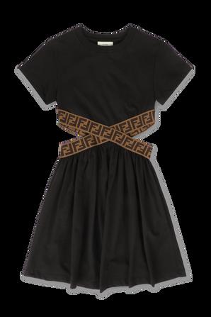 גילאי 3-7 שמלה שחורה עם חגורת מותן ממותגת FENDI KIDS