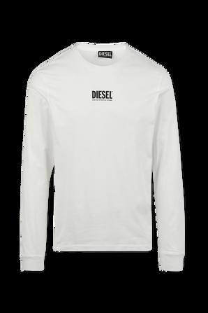חולצת טי עם שרוולים ארוכים ולוגו בצבע לבן DIESEL