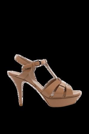 Tribute Platform Sandals In Patent Leather Pale Rose SAINT LAURENT