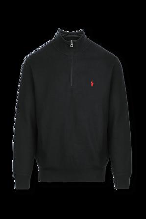 Half Zip High Neck Fitted Cotton Sweater in Black POLO RALPH LAUREN