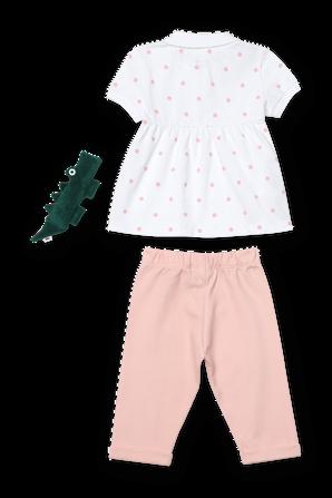 גילאי 6-12 חודשים מארז חליפת מכנסיים ובובה בגווני ורוד ולבן LACOSTE KIDS