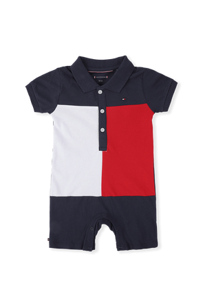 מידות 0-20 חודשים אוברול לוגו קצר TOMMY HILFIGER KIDS