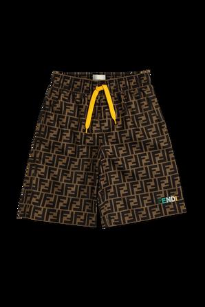 גילאי 8-12 בגד ים לוגו אולאובר עם רקמת לוגו צבעונית FENDI KIDS