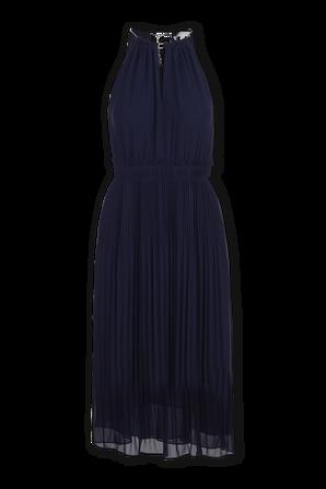 Georgette Pleated Halter Dress in True Navy MICHAEL KORS