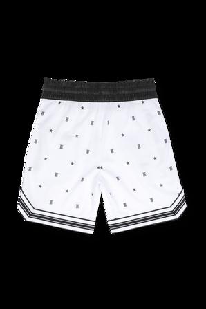 גילאי 3-14 מכנסיים קצרים בהדפס מונוגרמה וכוכבים בלבן BURBERRY
