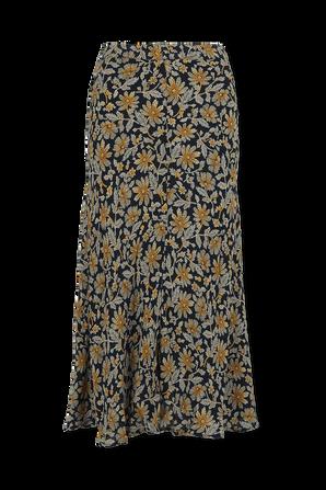 חצאית מידי ויסקוזה עם הדפס פרחוני בגווני כחול וזהוב TOMMY HILFIGER