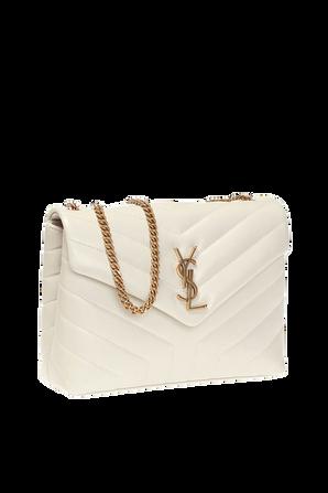 Loulou Quilt Bag In Cream SAINT LAURENT