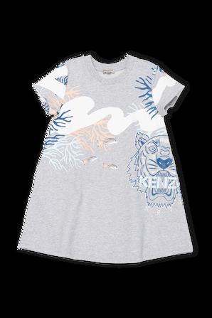 גילאי 3-6 שמלה בגוון אפור עם הדפס ימי KENZO KIDS