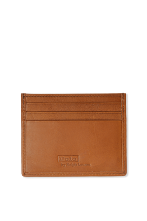Bear Print Card Case in Brown Leather POLO RALPH LAUREN