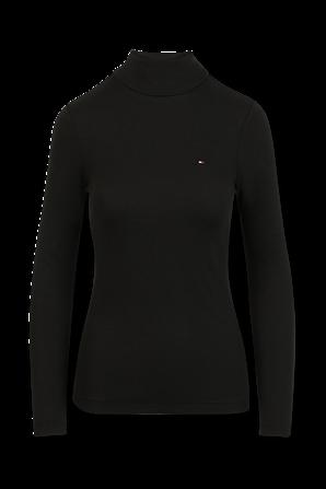 חולצת צווארון גולף בצבע שחור TOMMY HILFIGER