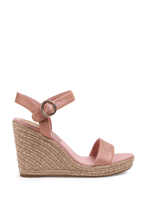 Signature High Wedge Sandals In Pink TOMMY HILFIGER