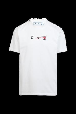 חולצת טי לבנה עם הדפס גרפי בגב OFF WHITE