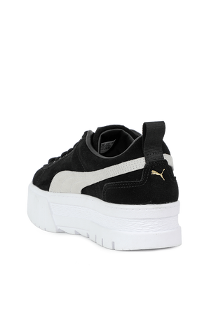Mayze Leather Sneakers in Black and White PUMA
