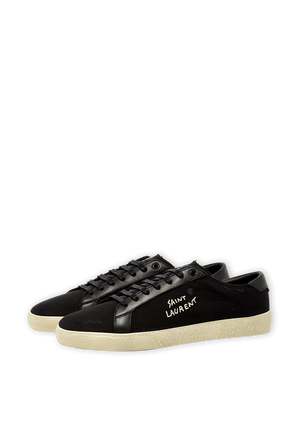 Court SL06 Classic Sneakers in Black Canvas and Leather SAINT LAURENT