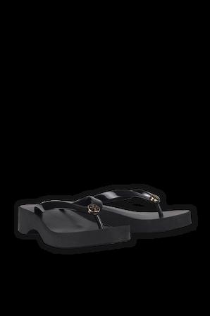 Wedge Flip Flops in Black TORY BURCH