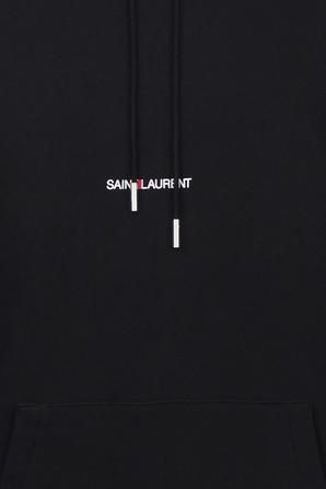 Saint Laurent Logo Hoodie in Black SAINT LAURENT