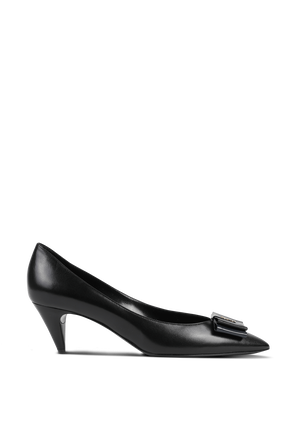 Anais Bow Pumps in Black Smooth Leather SAINT LAURENT