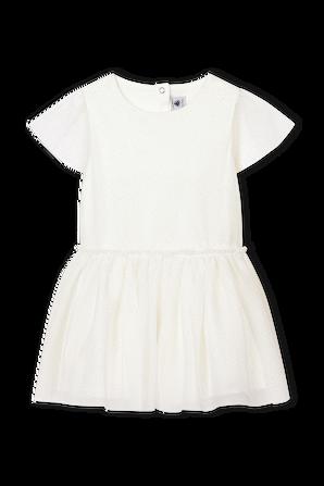 גילאי 3-12 שמלה בגוון לבן עם חצאית טול PETIT BATEAU