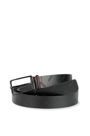 Pin-Buckle Belt in Black Leather With Embossed Logos HUGO