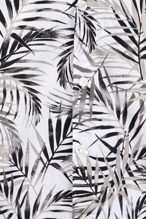 Palm Print Short-Sleeve Woven Camp Shirt MICHAEL KORS