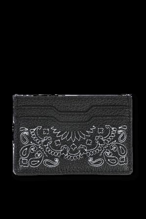 Bandana Print Leather Card Holder in Black AMIRI