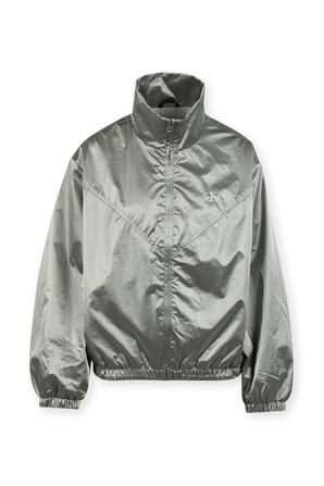 Coated Nylon Zip Up Jacket in Silver CALVIN KLEIN