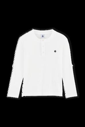 גילאי 6-12 חולצה לבנה עם שרוולים ארוכים וכפתורי רכיסה PETIT BATEAU