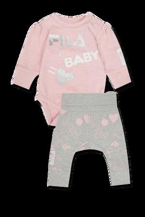 גילאי - NB- 12 חודשים סט בגד גוף ורוד ומכנסיים אפורים עם לוגו FILA