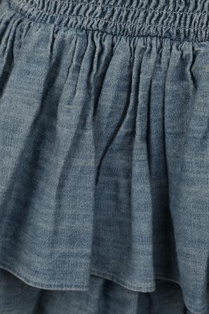 שמלת מידי מעוטרת בכיווצים ומלמלה בגוון כחול MICHAEL KORS