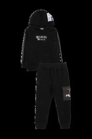 גילאי 2-10 סט מכנסי טרנינג וקפוצ'ון בצבע שחור FILA
