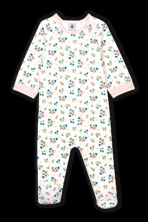גילאי 0-24 חודשים אוברול שרוול ארוך עם קגליות בדפוס פסים PETIT BATEAU