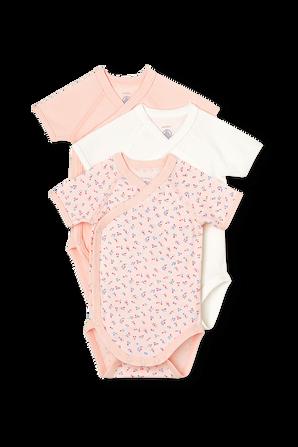 גילאי NB-12 חודשים מארז שלושה בגדי גוף קצרים בגווני וורוד PETIT BATEAU