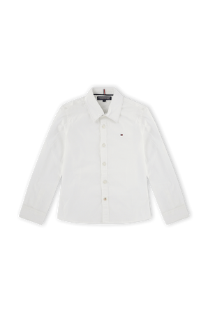 גילאי 2-7 חולצת פולו מכופתרת קלאסית בלבן TOMMY HILFIGER KIDS