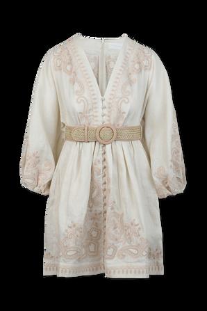 שמלת מידי אסטל עם הדפס פייזלי בגווני ניוד ולבן ZIMMERMANN