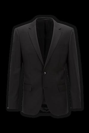 Black Slim Fit Jacket in Virgin Wool BOSS
