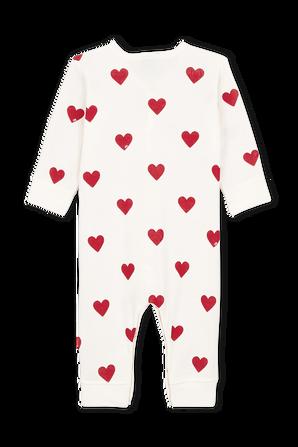 גילאי NB-12 חודשים בגד גוף ארוך בפרינט לבבות PETIT BATEAU