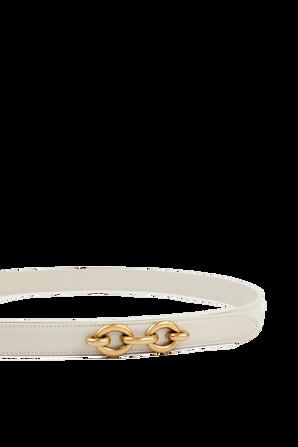 Thin Leather Belt in White SAINT LAURENT