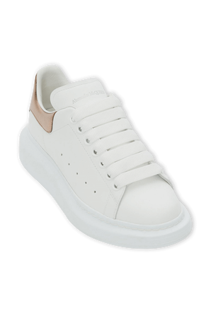 Oversized Sneakers in White and Pale Gold ALEXANDER MCQUEEN
