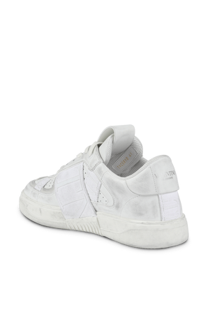 Low-Top Sneakers With Bands in White Leather VALENTINO