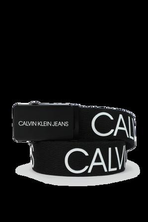 חגורת לוגו קנבס בשחור CALVIN KLEIN